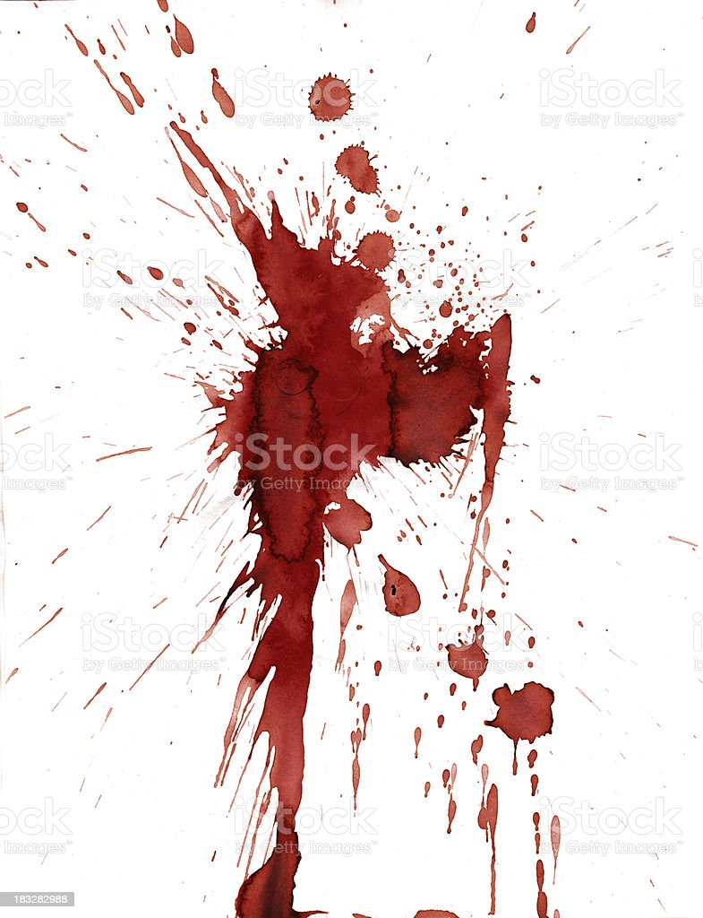 Red blood splatter stain on white background stock photo
