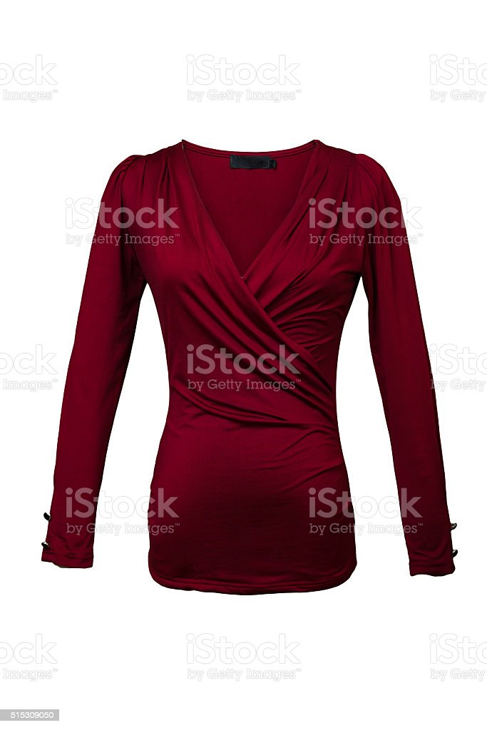 Red blouse isolated on white stock photo