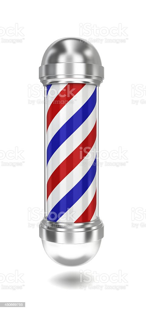Red blue and white barber's pole floating in mid air stock photo