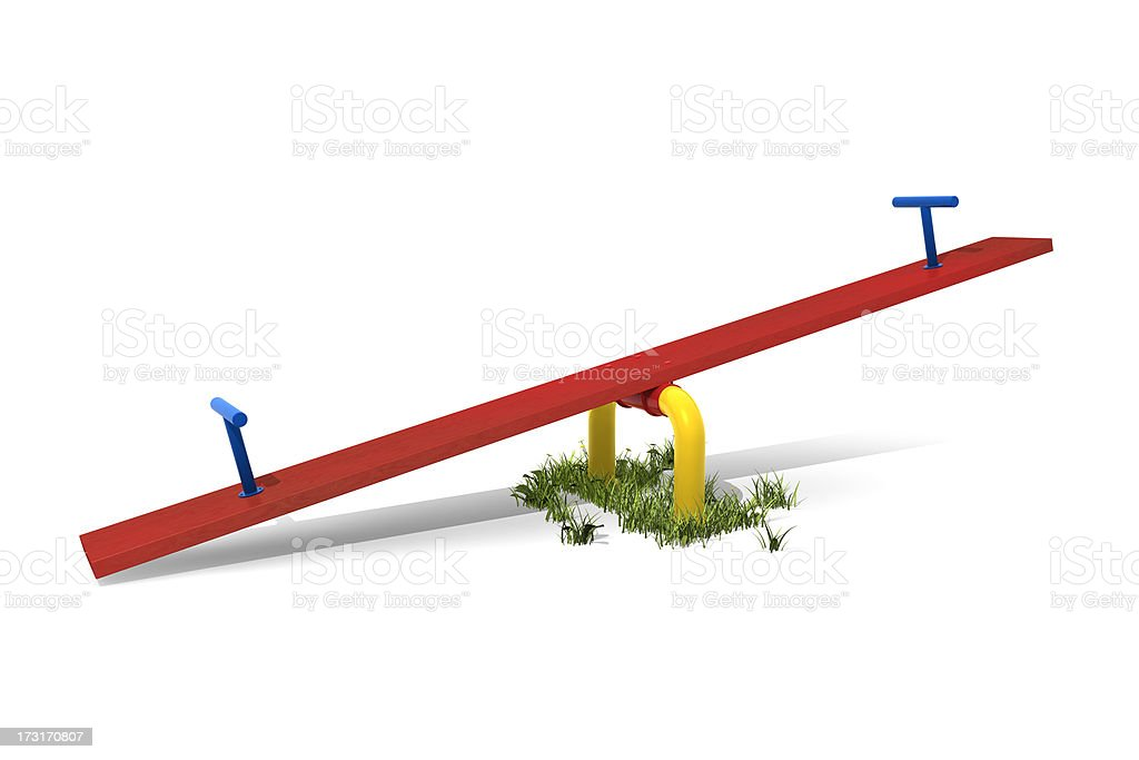 Red, blue and yellow seesaw isolated on white background stock photo