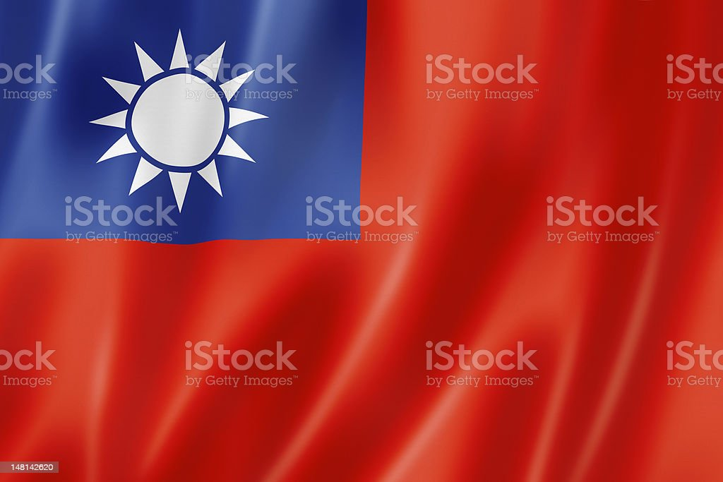 Red, blue and yellow Taiwanese flag stock photo