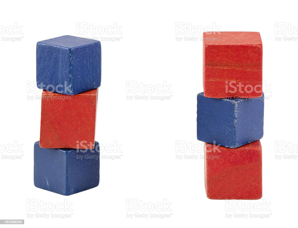 red blue color toy log blocks stand on white royalty-free stock photo
