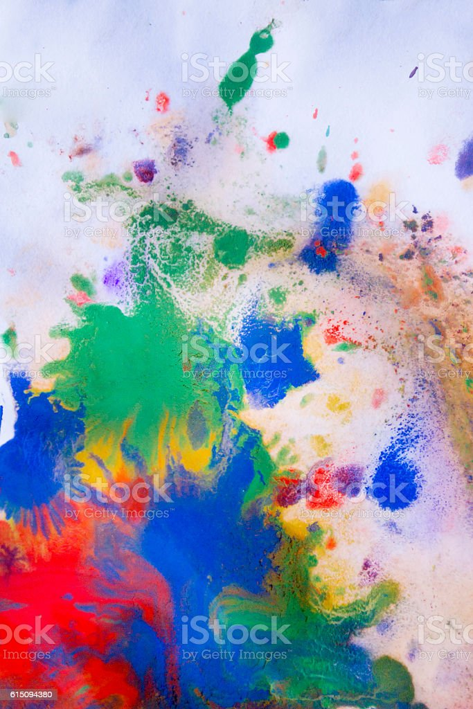 red, blue, green and yellow colors on paper stock photo