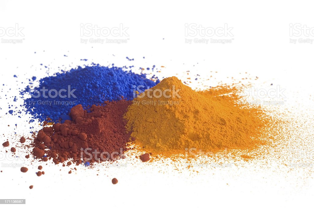 Red blue yellow piles of pigment powder on white stock photo