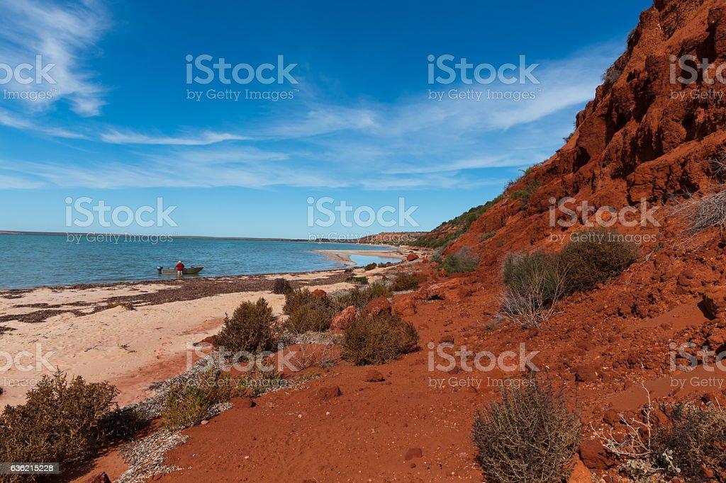 Red Bluff at Monkey Mia Shark Bay World Heritage Area stock photo