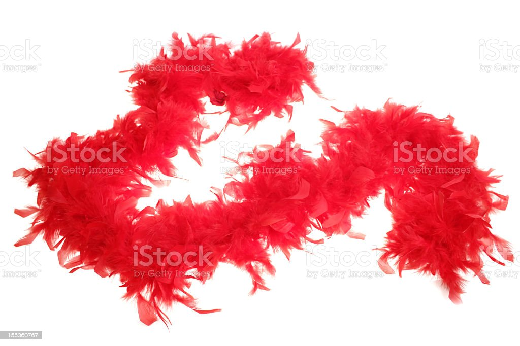 Red boa feathers on white stock photo