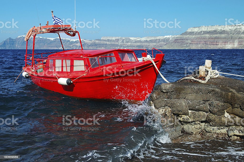 Red Boat at Santorini royalty-free stock photo