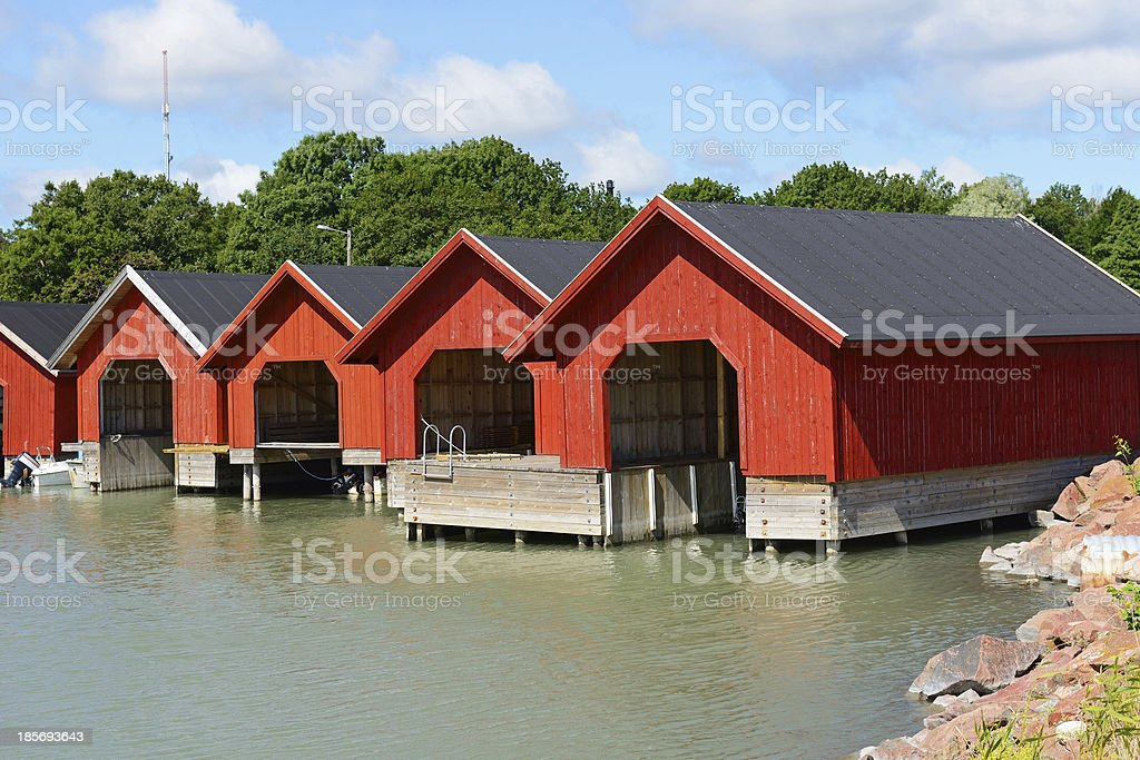 Red boat houses royalty-free stock photo