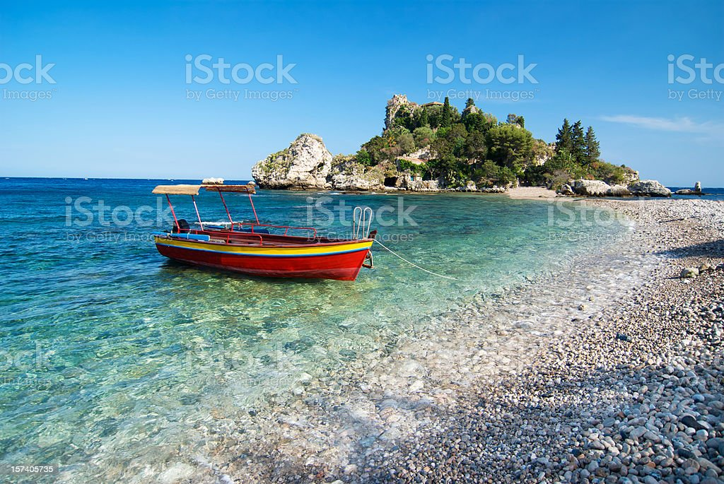 Red boat, Isola Bella, Sicily royalty-free stock photo