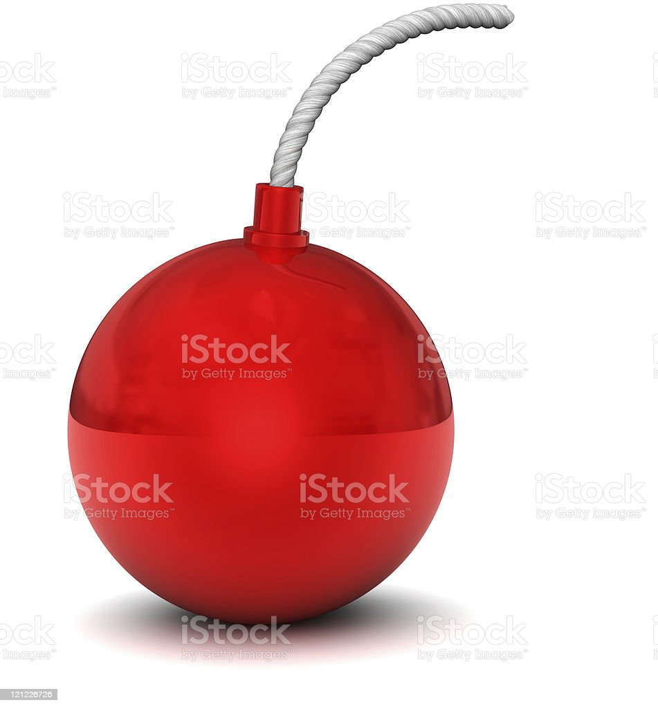 Red bomb on white royalty-free stock photo