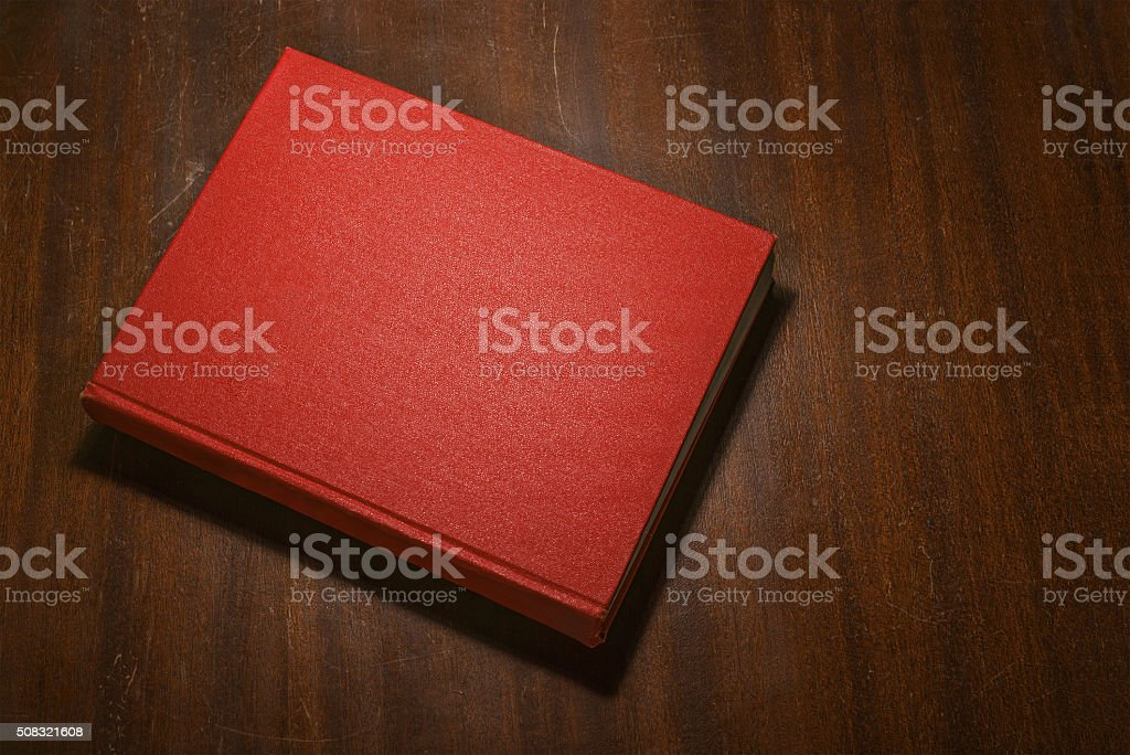 Red book on the table stock photo