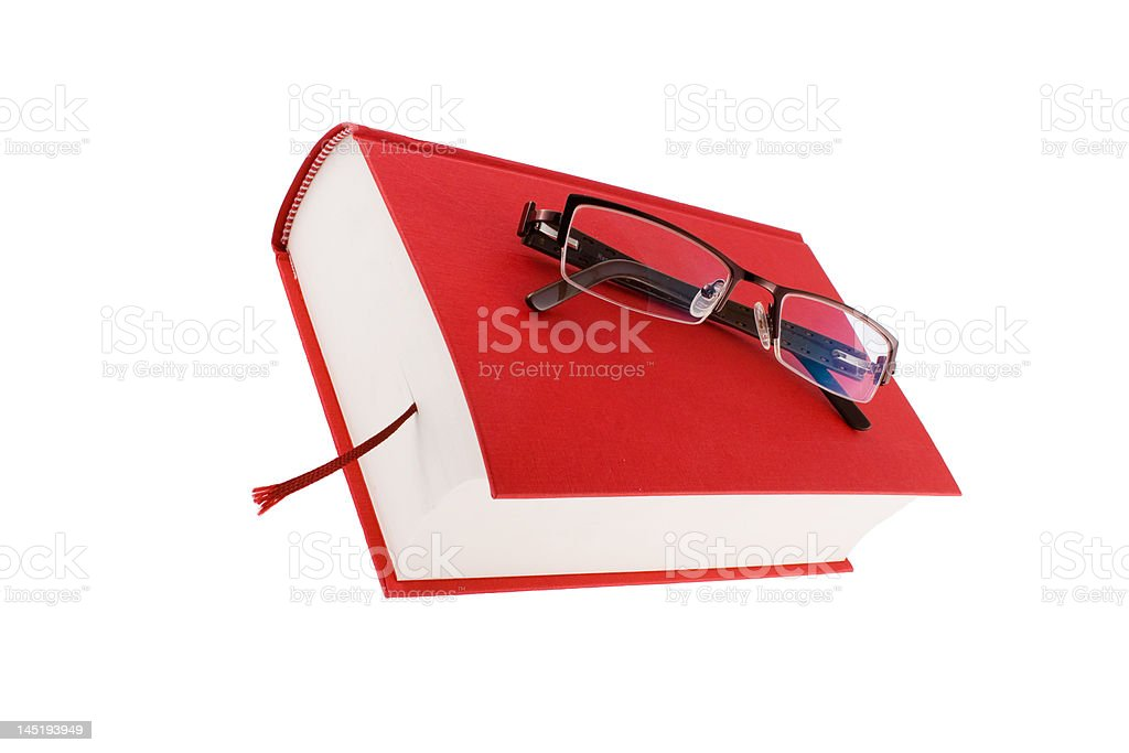 red book with glasses royalty-free stock photo