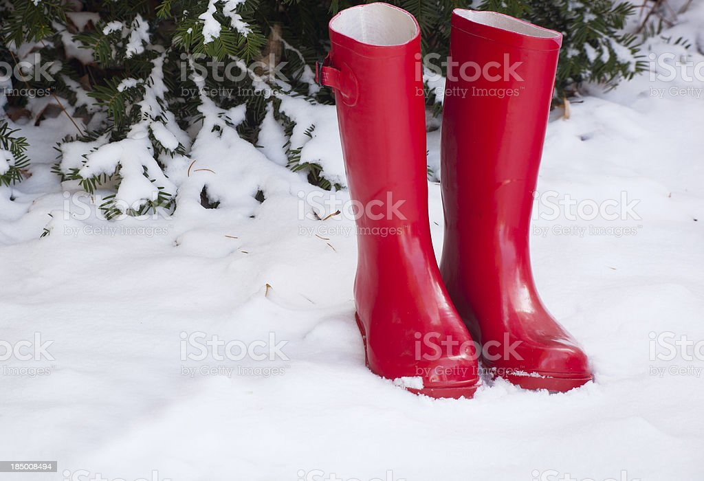 Red Boots in Snow stock photo