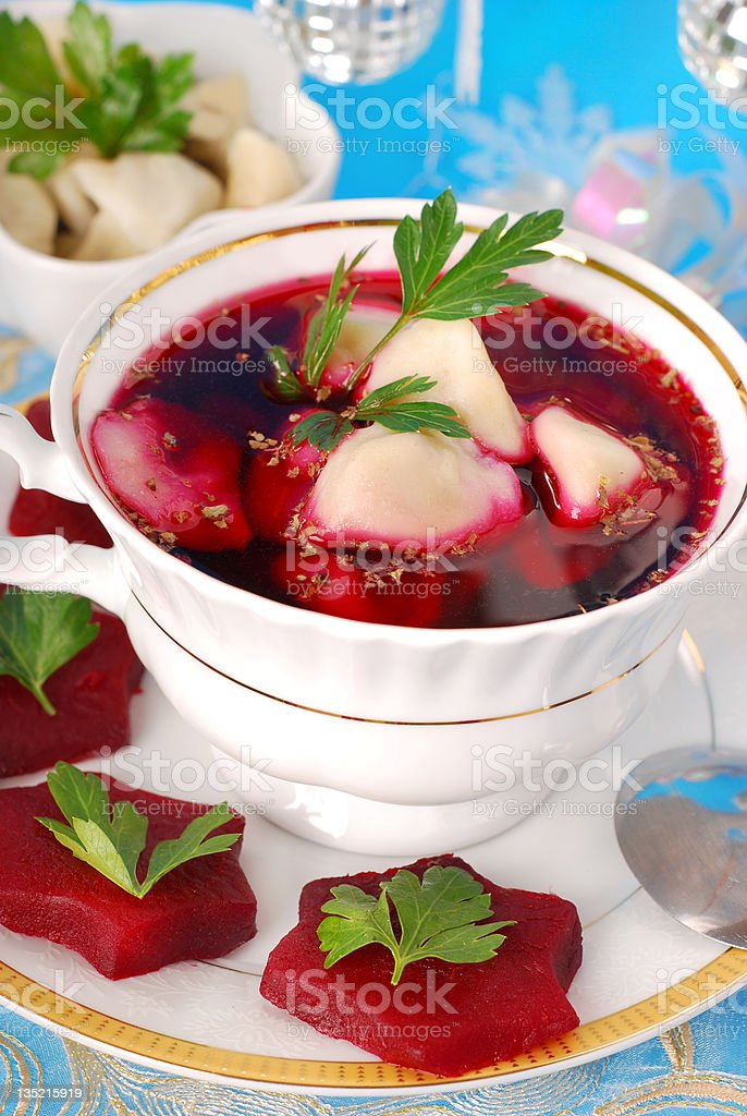 red borscht with ravioli royalty-free stock photo