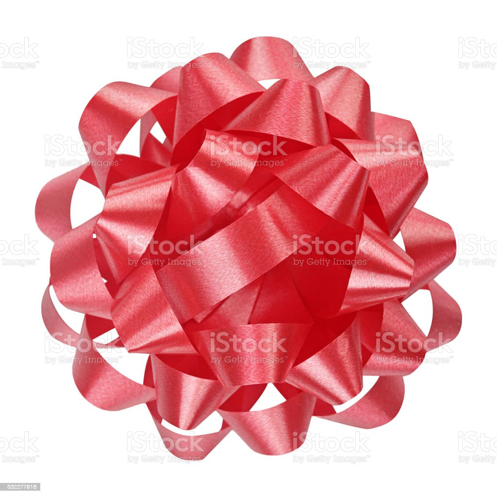 Red Bow from top,isolated. stock photo