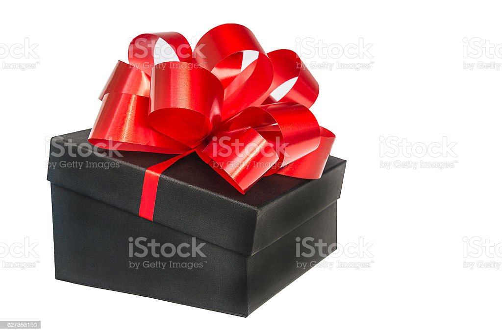 Red bow on black gift box stock photo