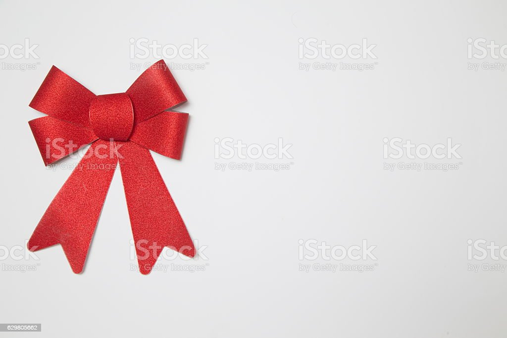 Red Bow on white background stock photo