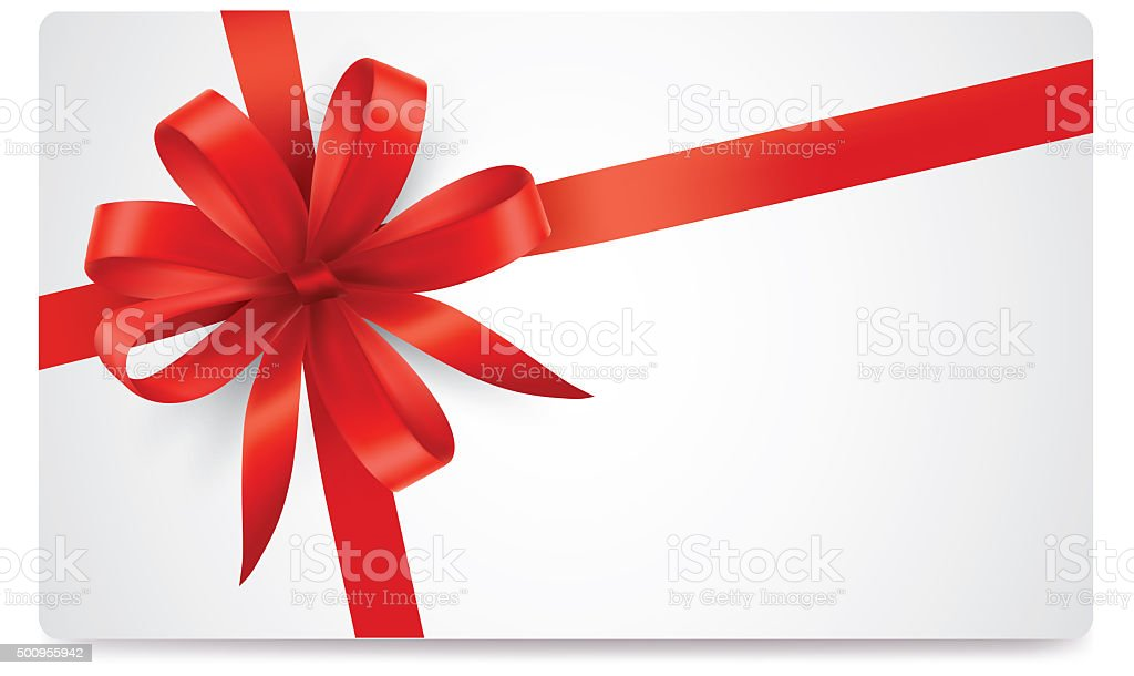 Red bow on white paper with blank card stock photo