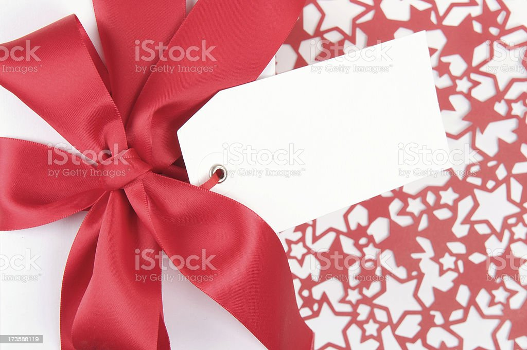 Red Bow White Ribbon Star Pattern royalty-free stock photo
