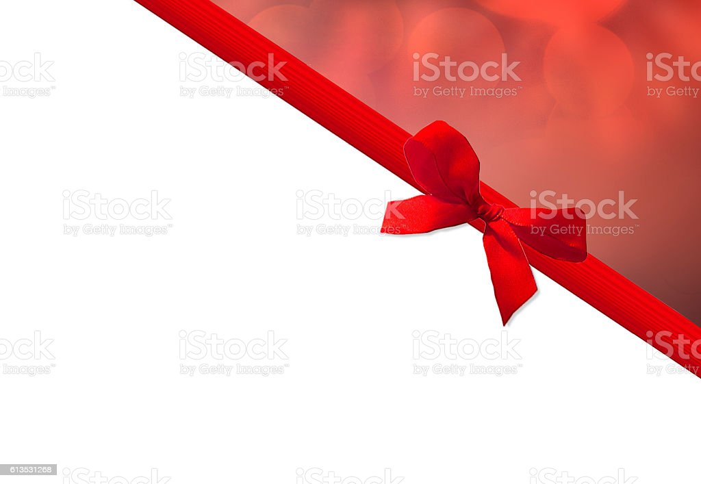 red bow with bokeh and copyspace stock photo