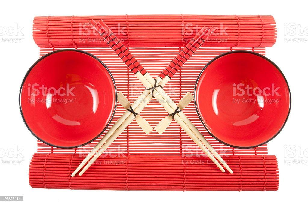 Red bowls and chopsticks' set stock photo