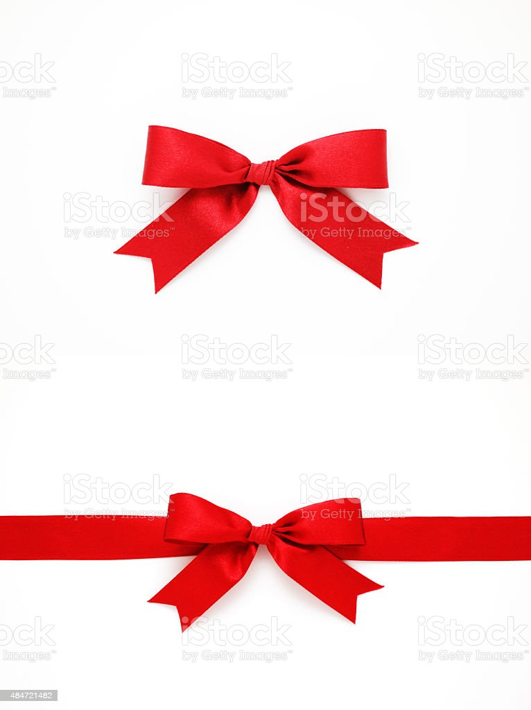 Red bows and ribbon stock photo