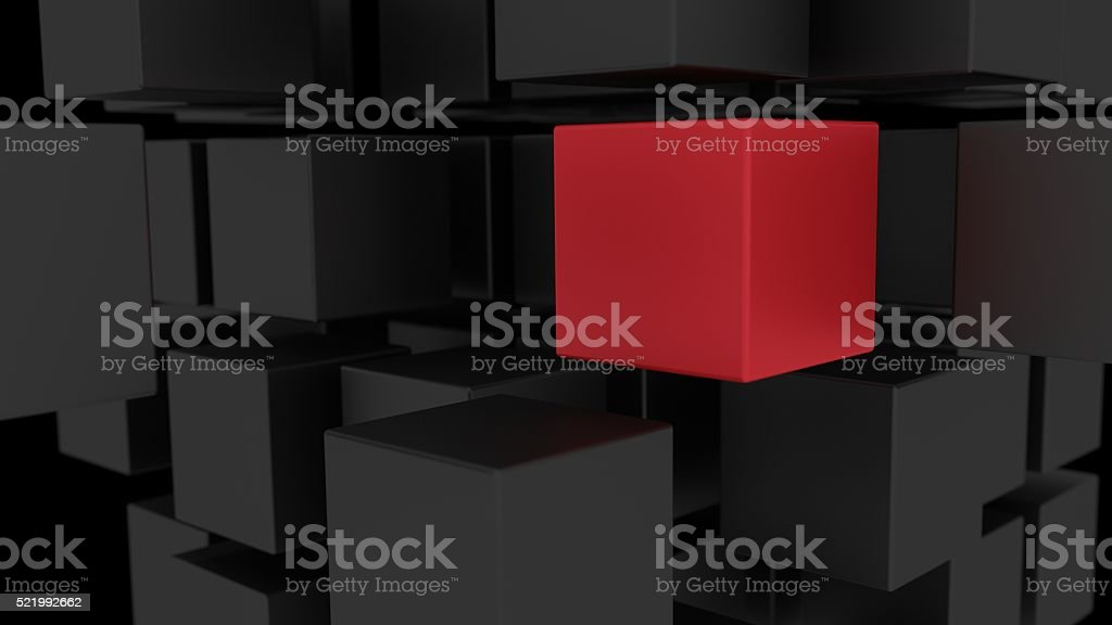 Red box among array of black cubes 3d illustration stock photo
