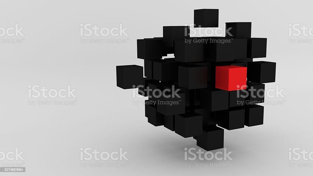 Red box among array of black cubes floating 3d illustration stock photo