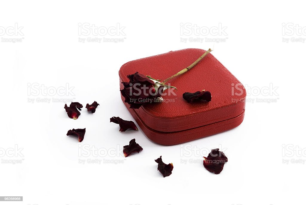 Red box and rose royalty-free stock photo