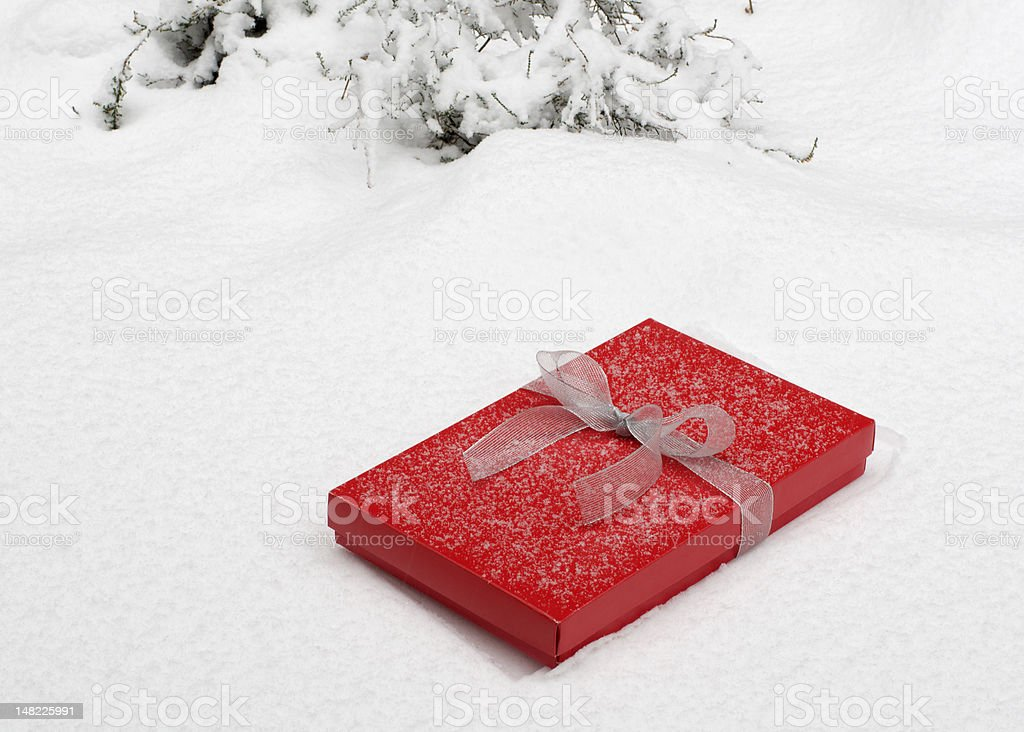 Red Box in Snow stock photo