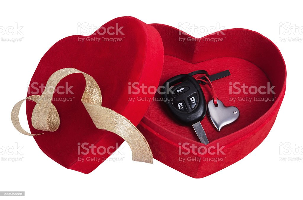 red box in the form of heart with keys stock photo