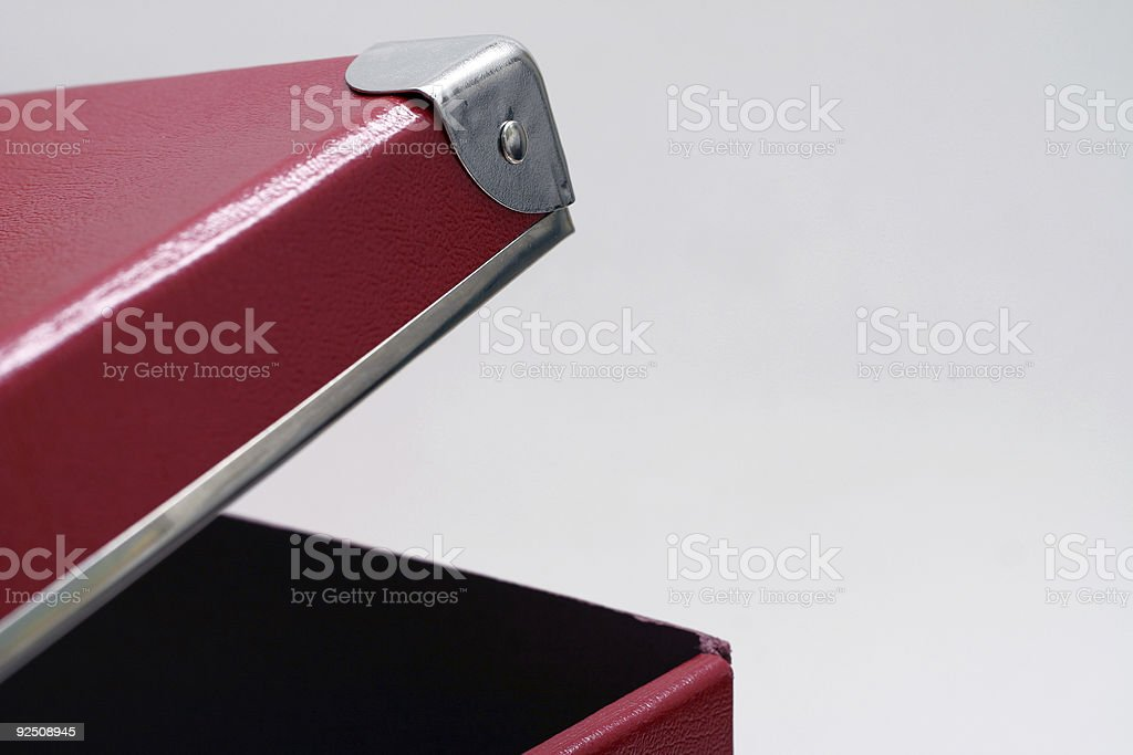 Red box, slightly open, isolated stock photo