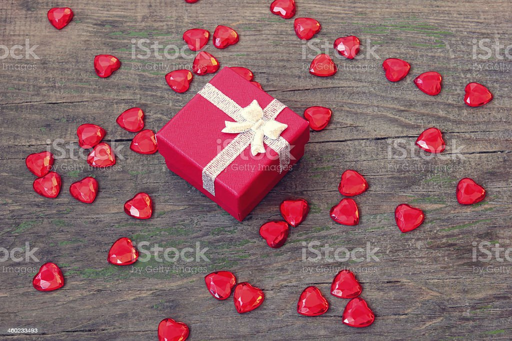 red box with a gift on Valentine's Day royalty-free stock photo