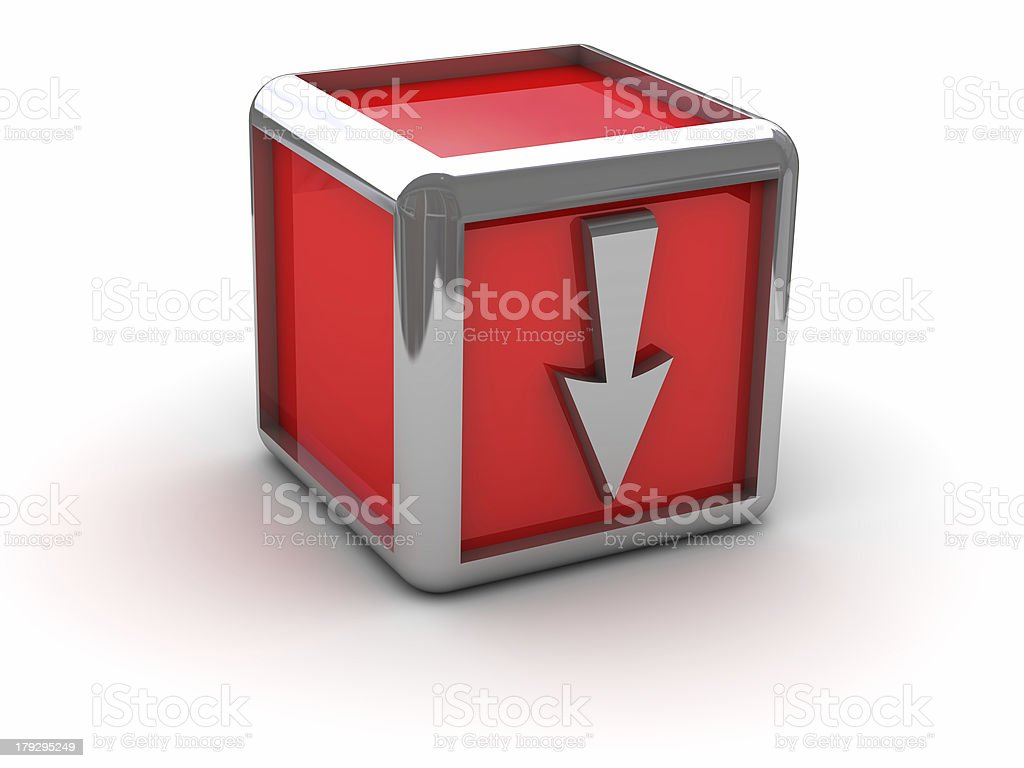 Red box with arrow down royalty-free stock photo