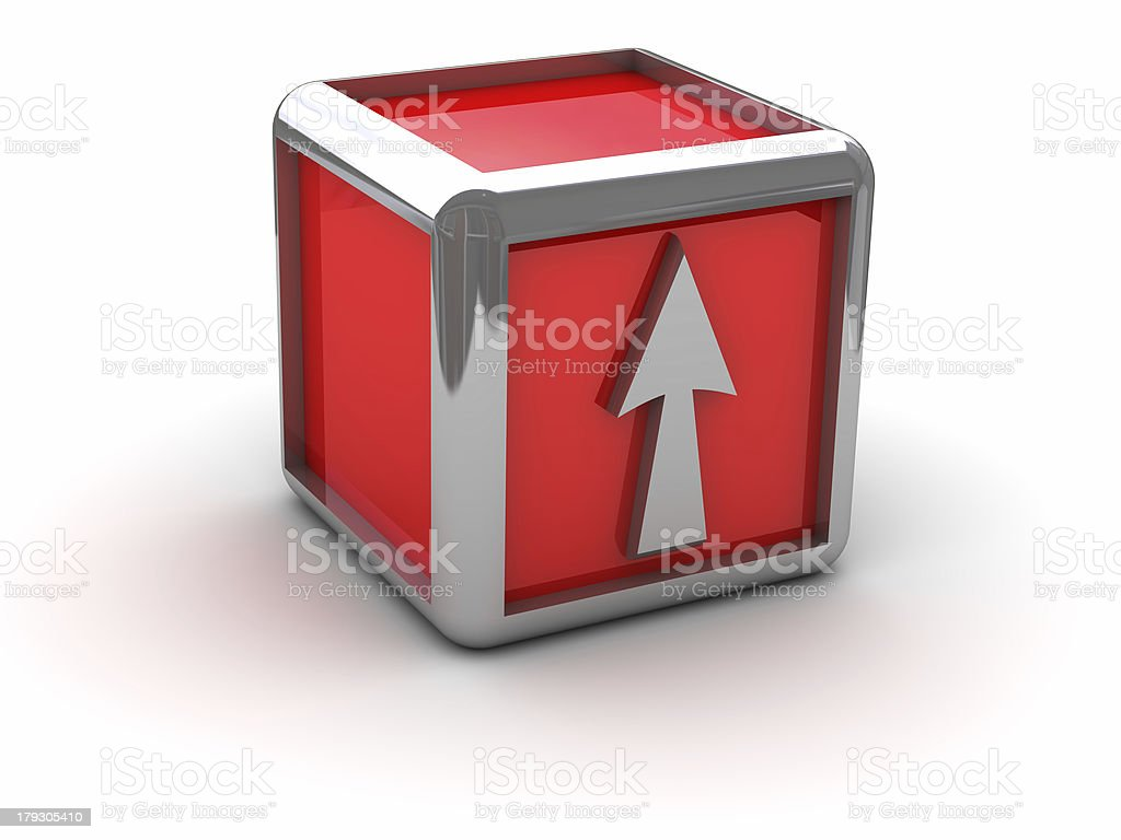 Red box with arrow royalty-free stock photo