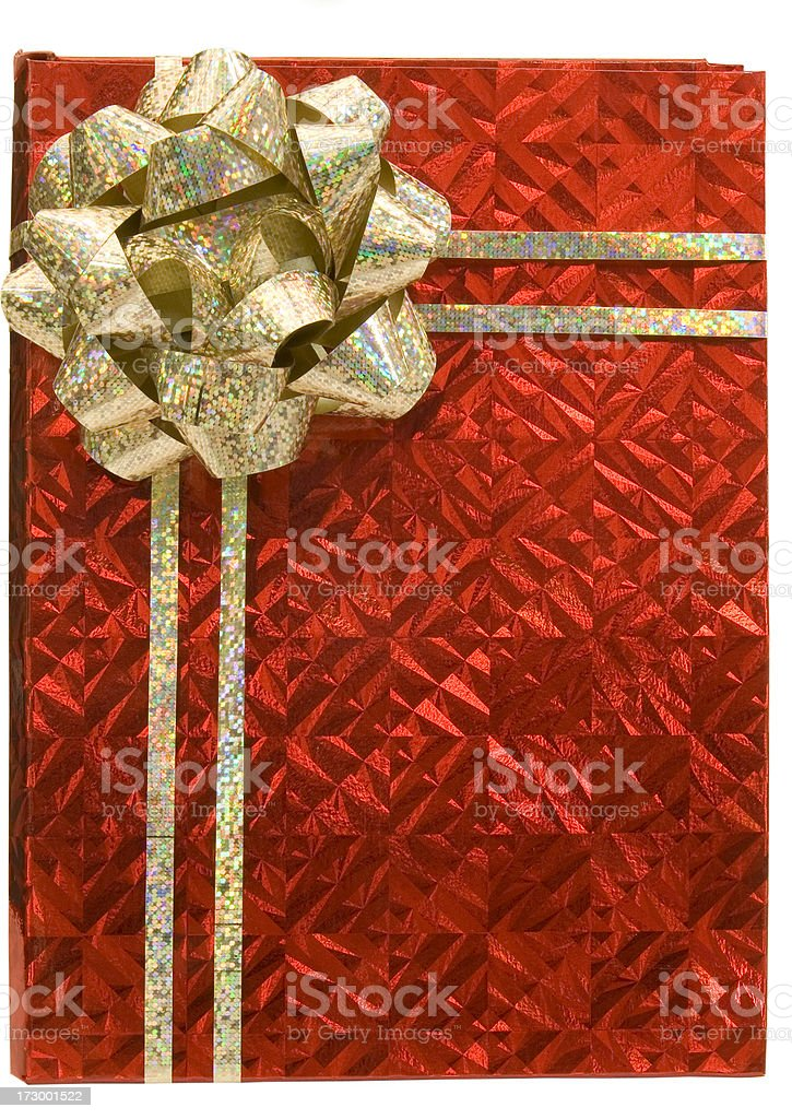 Red box with gold bow royalty-free stock photo