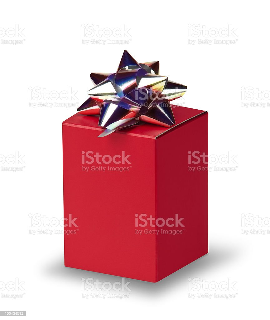 Red box with silver bow royalty-free stock photo