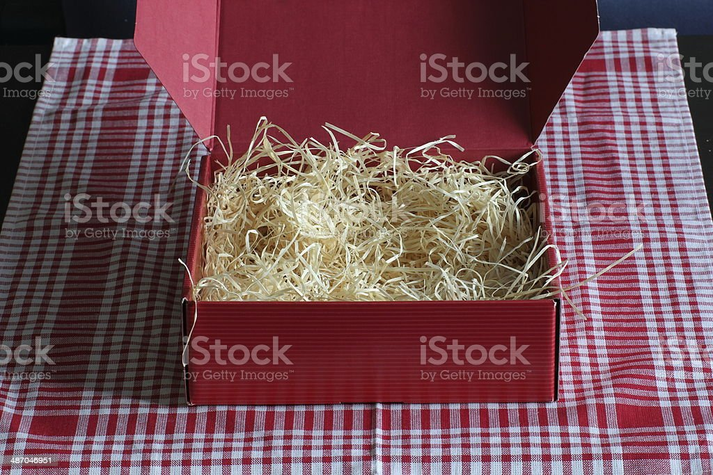Red Box With Straw royalty-free stock photo