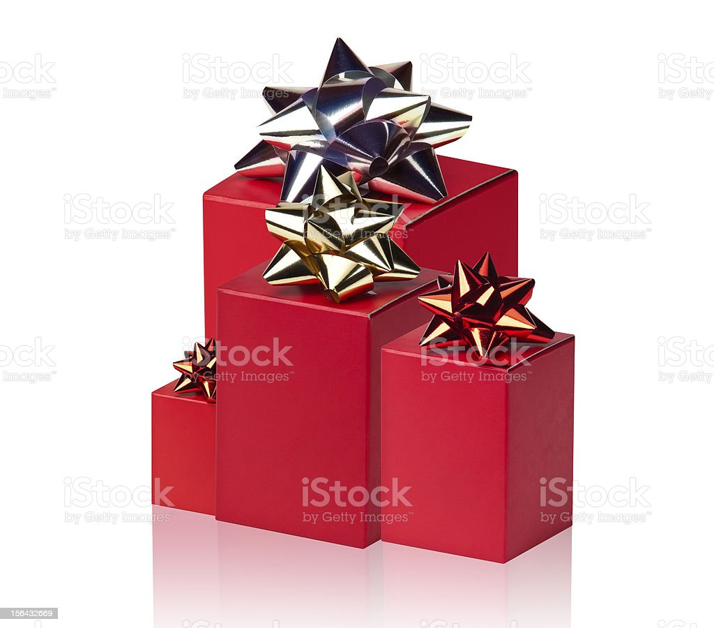 Red boxes with bows royalty-free stock photo