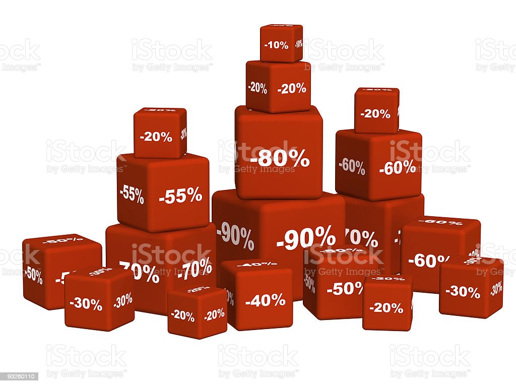 Red boxes with the goods at a discoun royalty-free stock photo