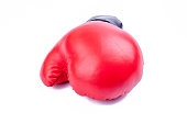 Red boxing glove isolated on white background.