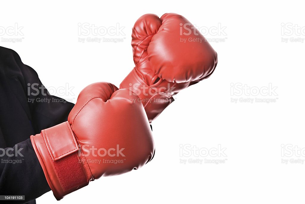 Red boxing gloves on a white background royalty-free stock photo