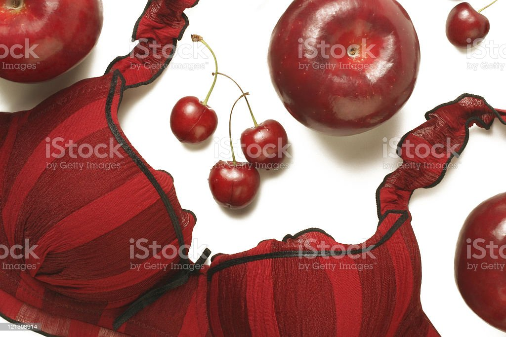 Red bra and fruits. Beauty still-life royalty-free stock photo