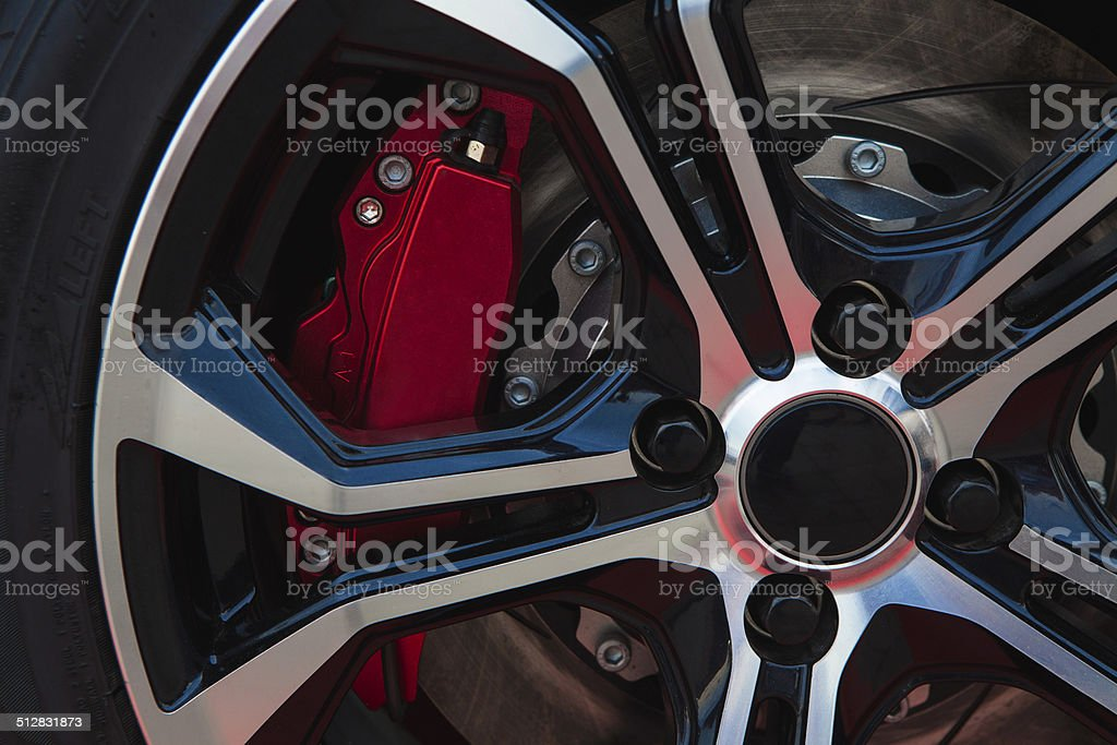 Red brake and alloy stock photo