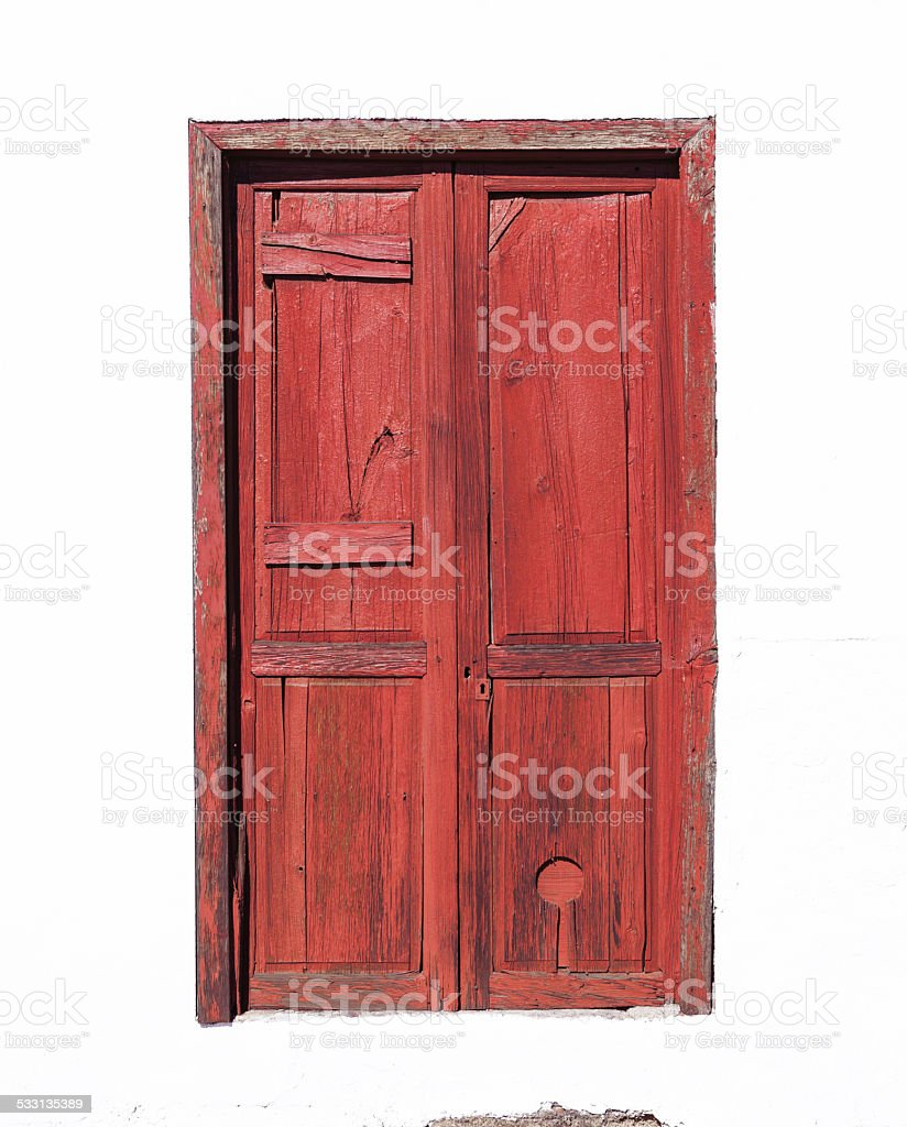 Red braun Canarian wooden door royalty-free stock photo