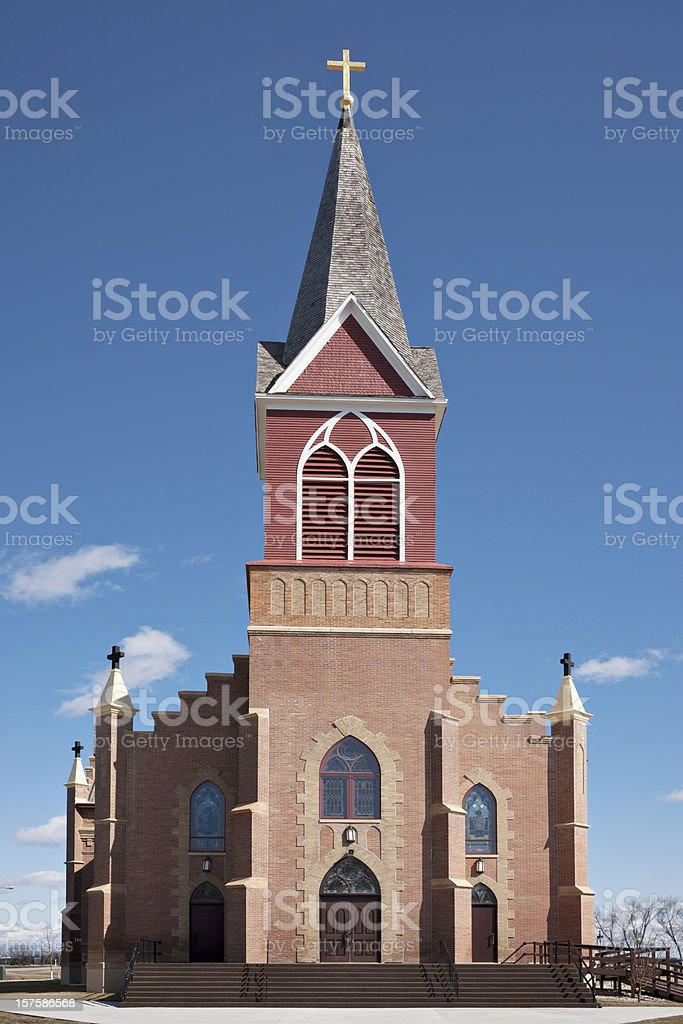 red brick Catholic church - frontal view royalty-free stock photo