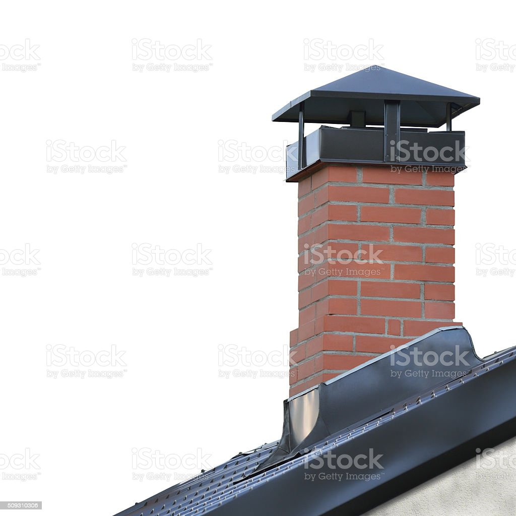 Red Brick Chimney, Grey Steel Tile Roof, Tiled Roofing, Isolated stock photo