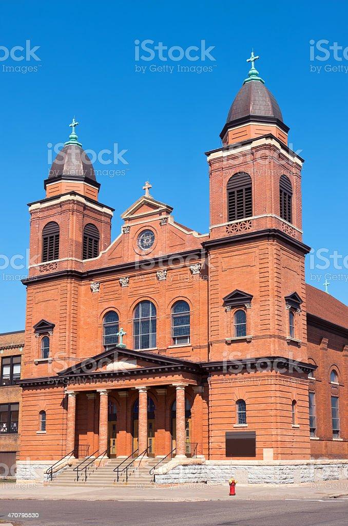 Red Brick Church Corner in Saint Paul stock photo