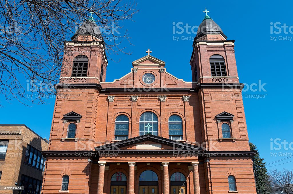 Red Brick Church Front in Saint Paul stock photo