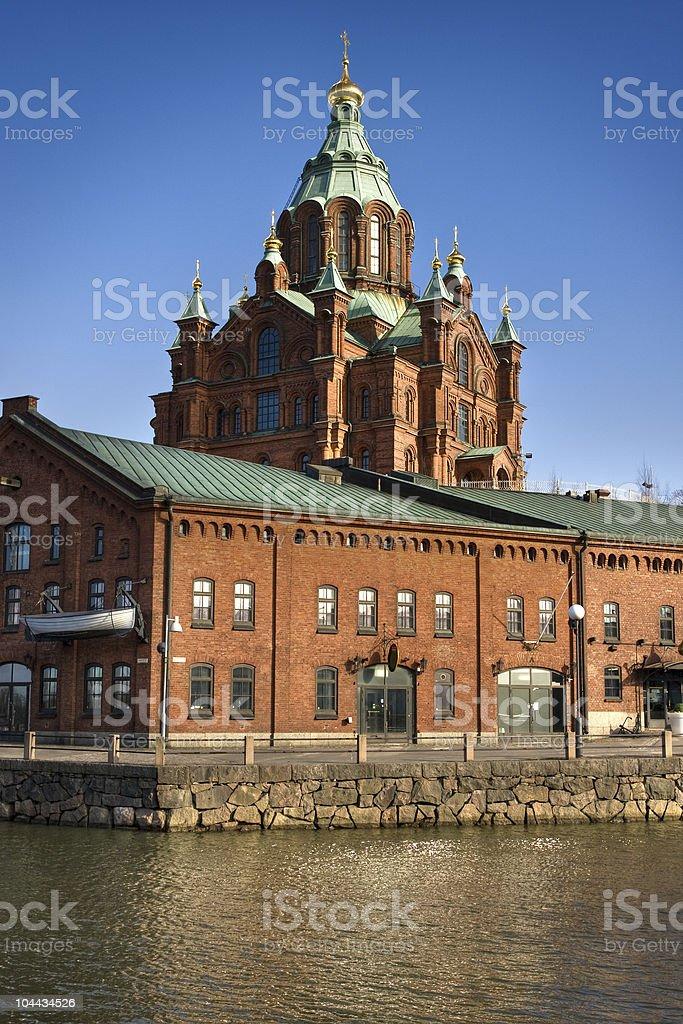 Red brick church in Helsinki, Finland royalty-free stock photo